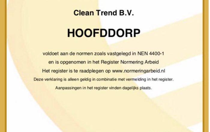 Clean Trend - Verklaring registratie SNA